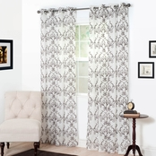 Lavish Home Valencia Embroidered Curtain Panels 54 X 84, Chocolate