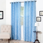 Lavish Home Inas Embroidered Curtain Panels 54 x 95, Blue
