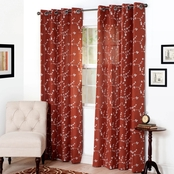 Lavish Home Inas Embroidered Curtain Panels 54 x 95, Red