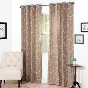 Lavish Home Inas Embroidered Curtain Panels 54 x 95, Tan