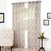Lavish Home Andrea Embroidered Curtain Panels 54 x 95, Black