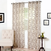Lavish Home Andrea Embroidered Curtain Panels, Chocolate