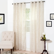 Lavish Home Andrea Embroidered Curtain Panels, White