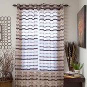 Lavish Home Sonya Grommet Curtain Panels 54 x 95, Taupe, Dark Brown