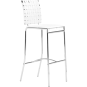 Zuo Modern Criss Cross Barstool White, Set of 2