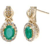 10K Yellow Gold 1/4 CTW Diamond Accent Genuine Emerald Earrings