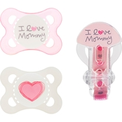 MAM Baby Infant Girls Love and Affection Pacifier 2 Pk. with Clip