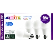UBrite A19 6W 40 Watt Equivalent Non Dimmable Soft White LED Bulbs 4 pk.