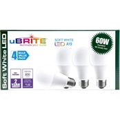 UBrite A19 9W 60 Watt Equivalent Non Dimmable Soft White LED Bulbs 4 pk.