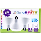 UBrite BR30 9.5W 65 Watt Equivalent Dimmable Soft White LED Bulbs 3pk