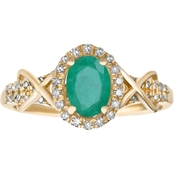 10K Yellow Gold 1/4 CTW Diamond Accent Genuine Emerald Ring