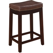 Linon Claridge Patch Brown Counter Stool