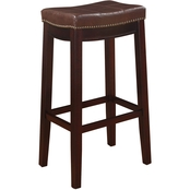 Linon Claridge Patches Brown Bar Stool