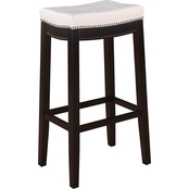 Linon Claridge Patches White Bar Stool