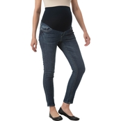 New Recruit Maternity Over Belly Embroidered Wave Back Pocket Jeans