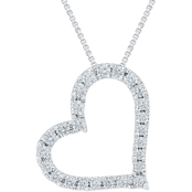 10K White Gold 1 CTW Diamond Heart Pendant