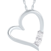 14K White Gold Diamond Accent Two Stone Heart Pendant On 18 In. Chain