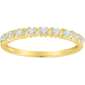 10K Yellow Gold Diamond Accent X & O Band