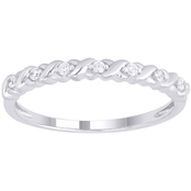10K White Gold Diamond Accent X & O Band