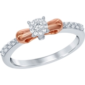 Disney Enchanted Sterling Silver 1/4 CTW Diamond 10K Rose Goldtone Snow White Ring