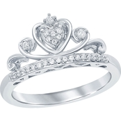 Sterling Silver 1/6 CTW Disney Multi Princess Tiara Diamond Ring, Size 7