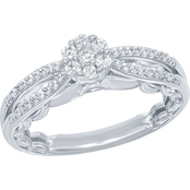 Disney Enchanted Sterling Silver 1/4 CTW Multi Diamond Princess Ring, Size 7