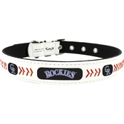 GameWear MLB Colorado Rockies Leather Dog Collar