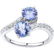 2 in Love Sterling Silver Tanzanite And Lab White Sapphire Ring