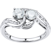 2 in Love Sterling Silver Lab White Sapphire Ring