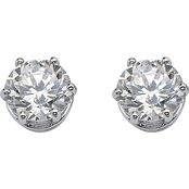 Palm Beach Platinum over Sterling Silver Round Cubic Zirconia Stud Earrings