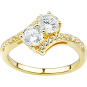 2 in Love 14K Yellow Gold Plated Sterling Silver Lab White Sapphire Ring