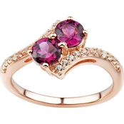 2 in Love 14K Gold Plated Sterling Silver Rhodolite And Lab White Sapphire Ring