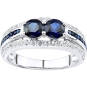 2 in Love Sterling Silver Lab White And Lab Blue Sapphire Ring