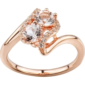 2 in Love Gold Plated Sterling Silver Morganite And Lab White Sapphire Ring