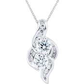 2 in Love Sterling Silver Lab White Sapphire Pendant On 18 In. Chain