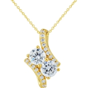2 in Love 14K Yellow Gold Plated Sterling Silver Lab White Sapphire Pendant