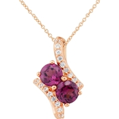 2 in Love 14K Gold Plated Sterling Silver Rhodolite And Lab White Sapphire Pendant