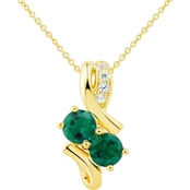 2 in Love Gold Plated Sterling Silver Lab Emerald And Lab White Sapphire Pendant