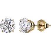 10K Yellow Gold 6mm Round Lab-Created White Sapphire Gem Stud Earrings