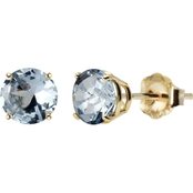 10K Yellow Gold 6mm Round Lab-Created Aquamarine Gem Stud Earrings