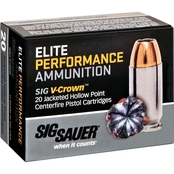 Sig Sauer Elite V-Crown .45 Auto 185 Gr. Jacketed Hollow Point, 20 Rounds