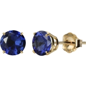 10K Yellow Gold 6mm Round Lab-Created Blue Sapphire Gem Stud Earrings