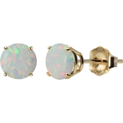 10K Yellow Gold 6mm Round Lab-Created Opal Gemstone Stud Earrings