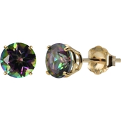 10K Yellow Gold 6mm Round Mystic Topaz Gemstone Stud Earrings