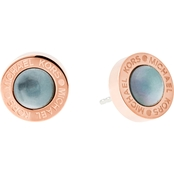 Michael Kors Logo Rose Goldtone and Gray Mother of Pearl Stud Earrings