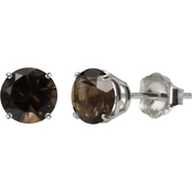 10K White Gold 6mm Round Smoky Quartz Gemstone Stud Earrings