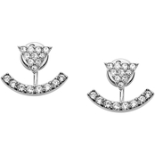 Fossil Silvertone Curved Crystal Earring Jackets