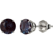 10K White Gold 6mm Round Lab-Created Alexandrite Gemstone Stud Earrings