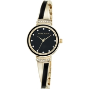Anne Klein Women's Crystal Accent Goldtone and Black Bangle Watch 26mm AK/2216BKGB