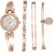 Anne Klein Women's Crystal Accented Rose Gold Tone Watch Set 24mm AK/2238RGST
